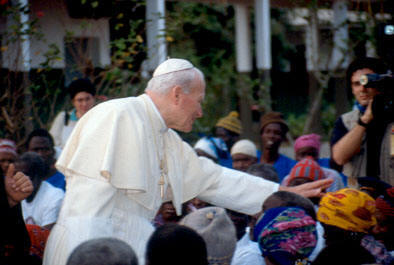 john paul ii with lepers